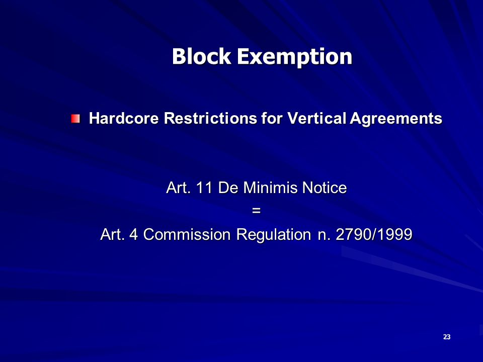 23 Hardcore Restrictions for Vertical Agreements Art.