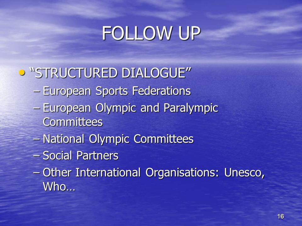 16 FOLLOW UP STRUCTURED DIALOGUE STRUCTURED DIALOGUE –European Sports Federations –European Olympic and Paralympic Committees –National Olympic Committees –Social Partners –Other International Organisations: Unesco, Who…