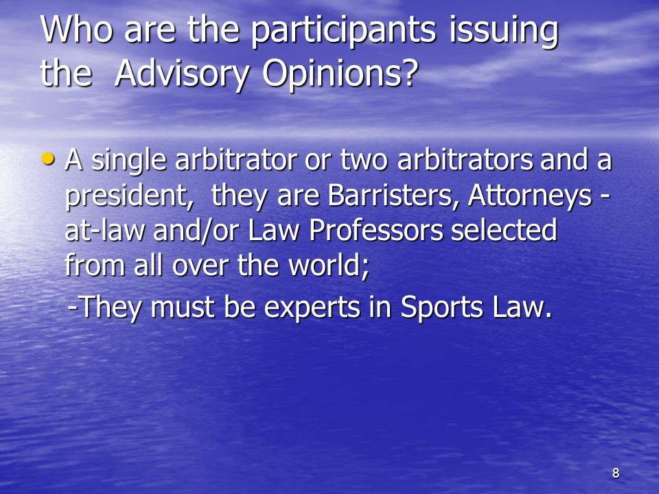 18 The different natures of arbitrations Disciplinary: Sanctions applied by FIFA to the Associations, Clubs and Players.
