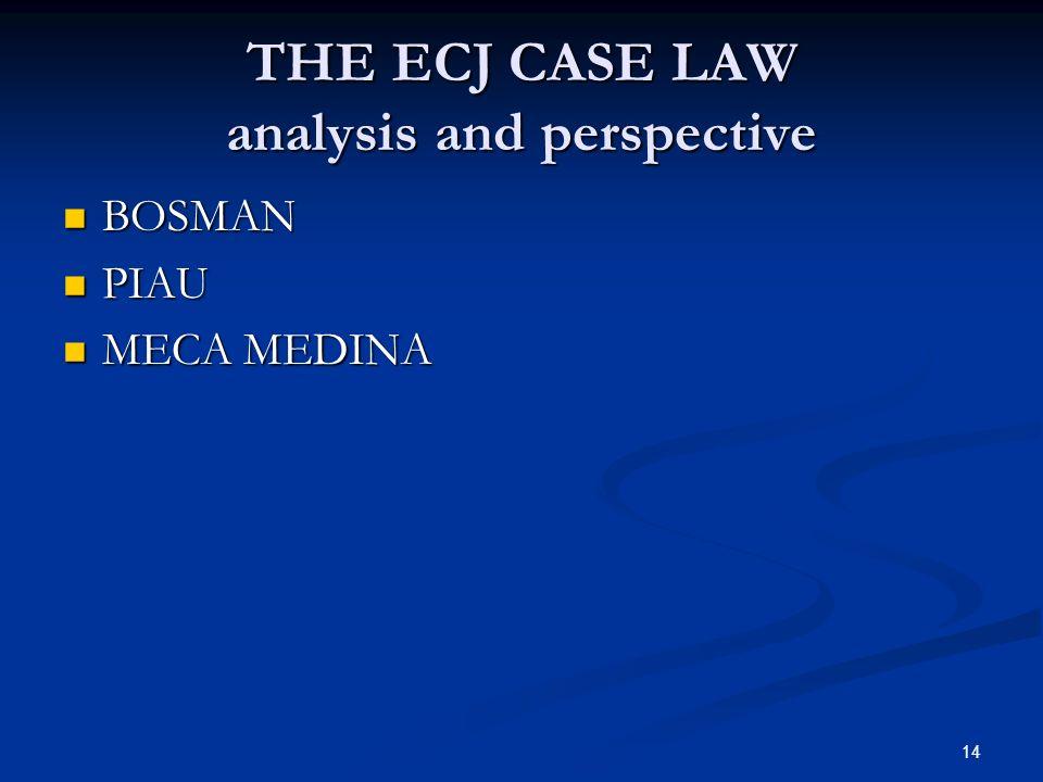 14 THE ECJ CASE LAW analysis and perspective BOSMAN BOSMAN PIAU PIAU MECA MEDINA MECA MEDINA