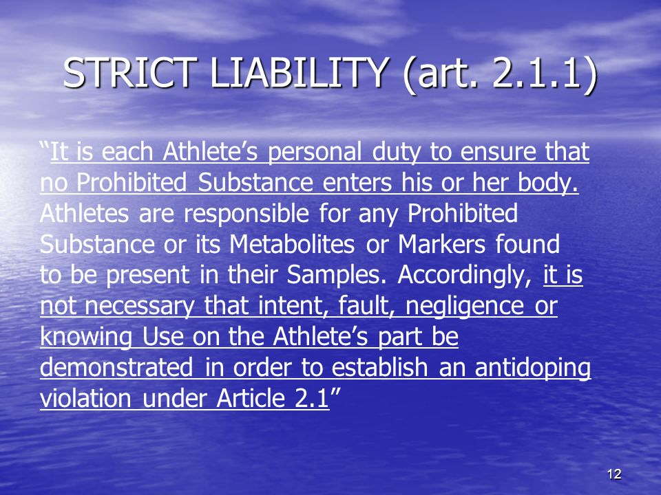 12 STRICT LIABILITY (art.