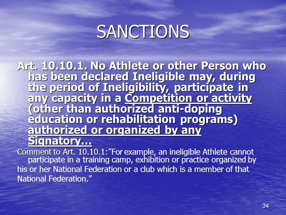 34 SANCTIONS Art. 10.10.1.
