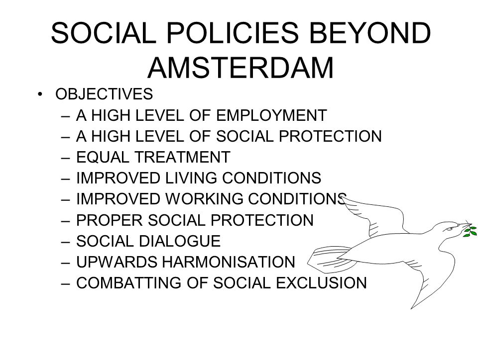 SOCIAL POLICIES BEYOND AMSTERDAM OBJECTIVES –A HIGH LEVEL OF EMPLOYMENT –A HIGH LEVEL OF SOCIAL PROTECTION –EQUAL TREATMENT –IMPROVED LIVING CONDITIONS –IMPROVED WORKING CONDITIONS –PROPER SOCIAL PROTECTION –SOCIAL DIALOGUE –UPWARDS HARMONISATION –COMBATTING OF SOCIAL EXCLUSION
