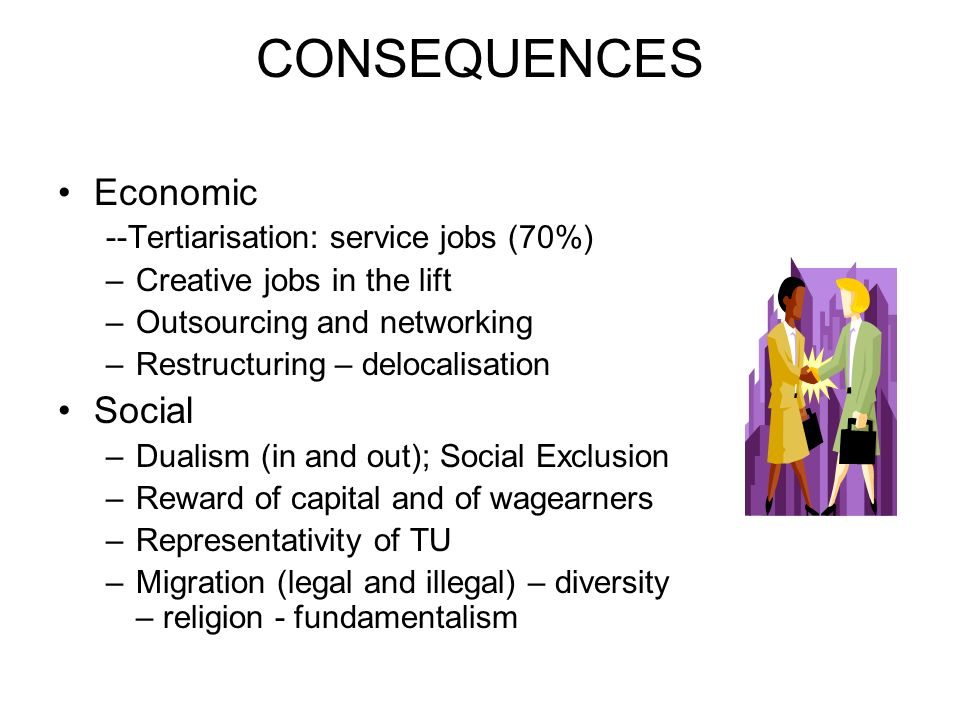 CONSEQUENCES Economic --Tertiarisation: service jobs (70%) –Creative jobs in the lift –Outsourcing and networking –Restructuring – delocalisation Social –Dualism (in and out); Social Exclusion –Reward of capital and of wagearners –Representativity of TU –Migration (legal and illegal) – diversity – religion - fundamentalism