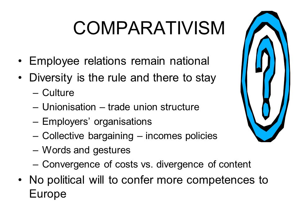COMPARATIVISM Employee relations remain national Diversity is the rule and there to stay –Culture –Unionisation – trade union structure –Employers organisations –Collective bargaining – incomes policies –Words and gestures –Convergence of costs vs.