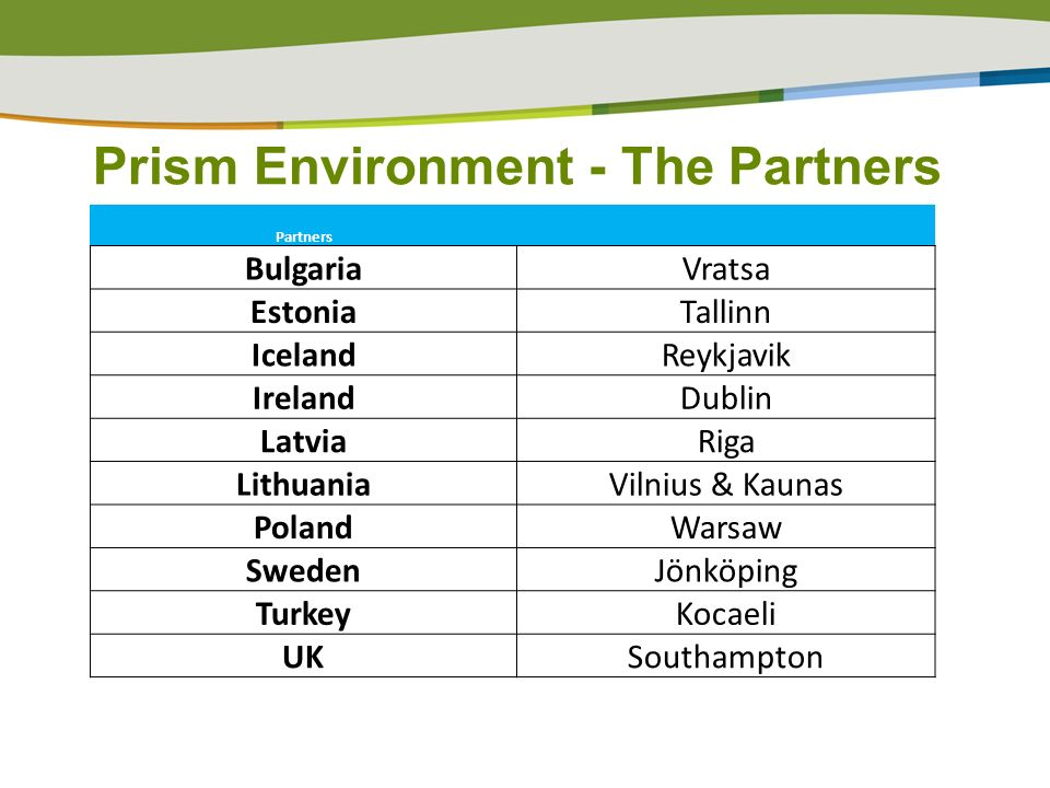 Prism Environment - The Partners Partners BulgariaVratsa EstoniaTallinn IcelandReykjavik IrelandDublin LatviaRiga LithuaniaVilnius & Kaunas PolandWarsaw SwedenJönköping TurkeyKocaeli UKSouthampton