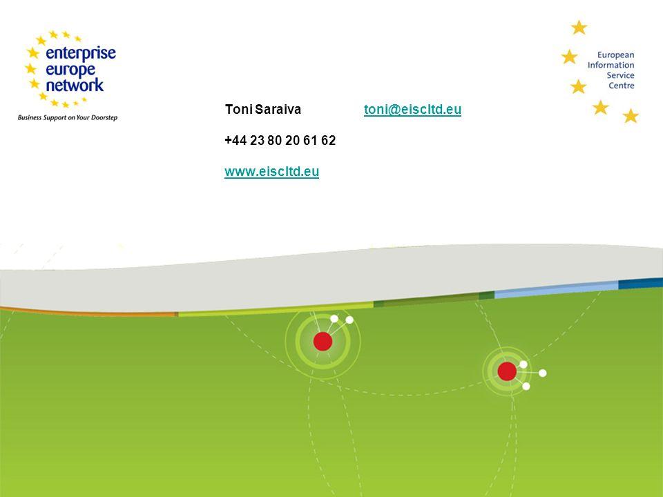 Toni Saraiva toni@eiscltd.eu +44 23 80 20 61 62 www.eiscltd.eutoni@eiscltd.eu www.eiscltd.eu