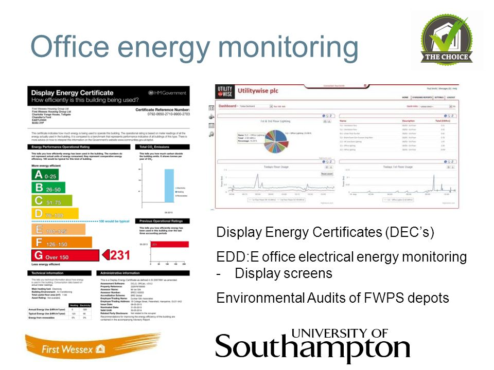 Office energy monitoring Display Energy Certificates (DECs) EDD:E office electrical energy monitoring -Display screens Environmental Audits of FWPS depots