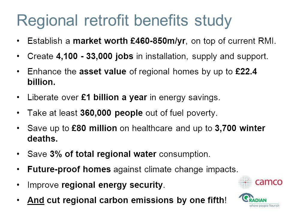 Regional retrofit benefits study Establish a market worth £460-850m/yr, on top of current RMI.