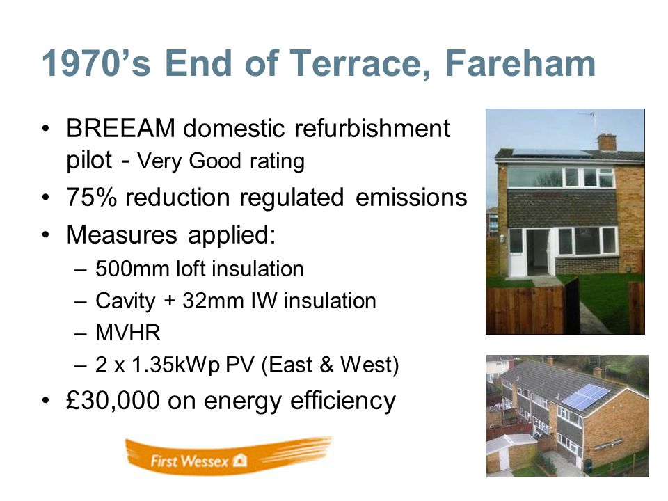 BREEAM domestic refurbishment pilot - Very Good rating 75% reduction regulated emissions Measures applied: –500mm loft insulation –Cavity + 32mm IW insulation –MVHR –2 x 1.35kWp PV (East & West) £30,000 on energy efficiency 1970s End of Terrace, Fareham
