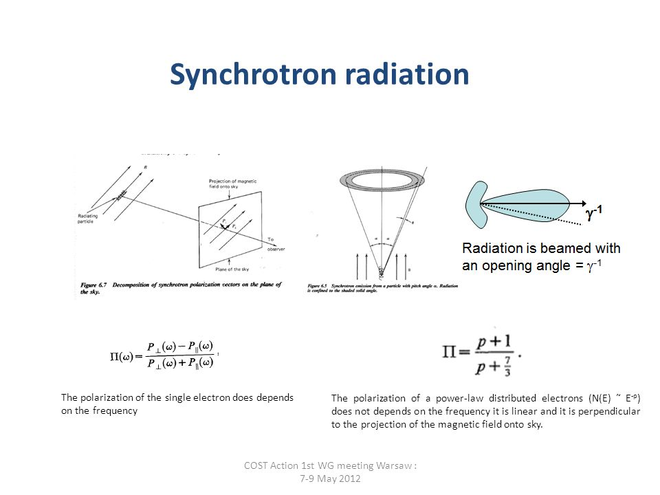 The polarization of the single electron does depends on the frequency The polarization of a power-law distributed electrons (N(E) ˜ E -p ) does not depends on the frequency it is linear and it is perpendicular to the projection of the magnetic field onto sky.