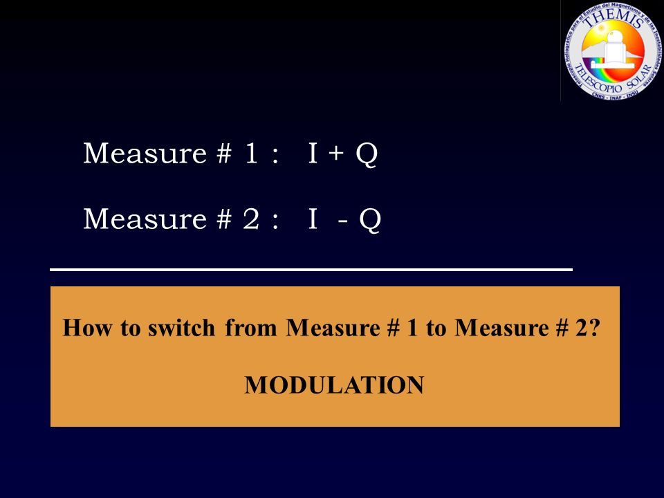 Measure # 1 : I + Q Measure # 2 : I - Q Subtraction: 0.5 (M1 – M2 ) = Q Addition: 0.5 (M1 + M2 ) = I How to switch from Measure # 1 to Measure # 2? MO