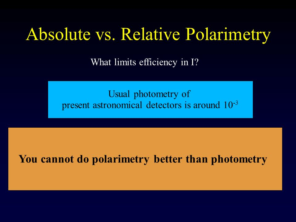 Absolute vs. Relative Polarimetry What limits efficiency in I? You cannot do polarimetry better than photometry Usual photometry of present astronomic