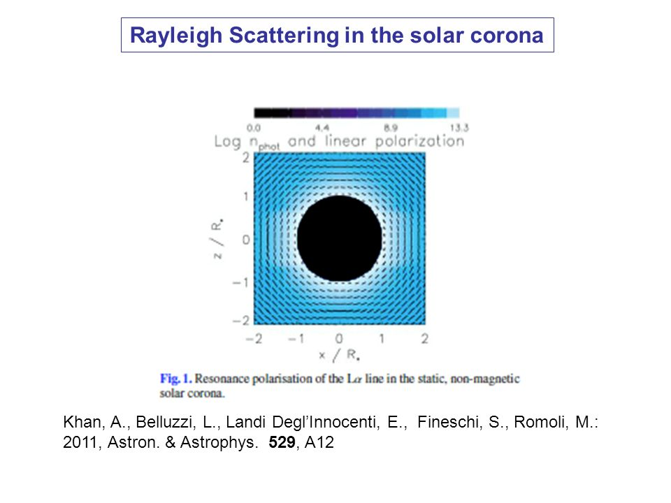 Rayleigh Scattering in the solar corona Khan, A., Belluzzi, L., Landi DeglInnocenti, E., Fineschi, S., Romoli, M.: 2011, Astron. & Astrophys. 529, A12
