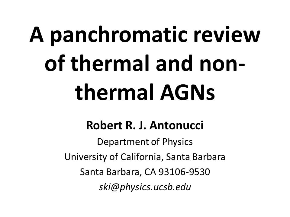 A panchromatic review of thermal and non- thermal AGNs Robert R.