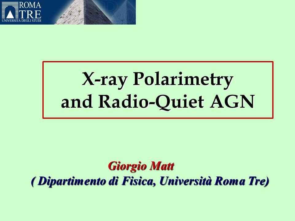 X-ray Polarimetry and Radio-Quiet AGN GiorgioMatt Giorgio Matt ( Dipartimento di Fisica, Università Roma Tre) ( Dipartimento di Fisica, Università Roma Tre)