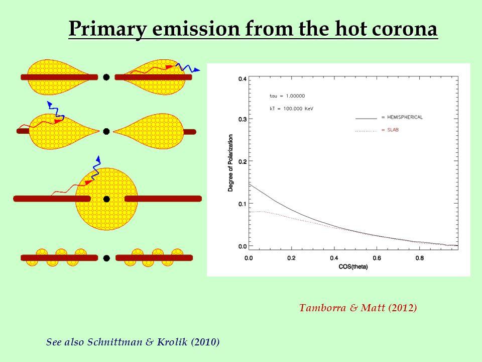 Primary emission from the hot corona Tamborra & Matt (2012) See also Schnittman & Krolik (2010)