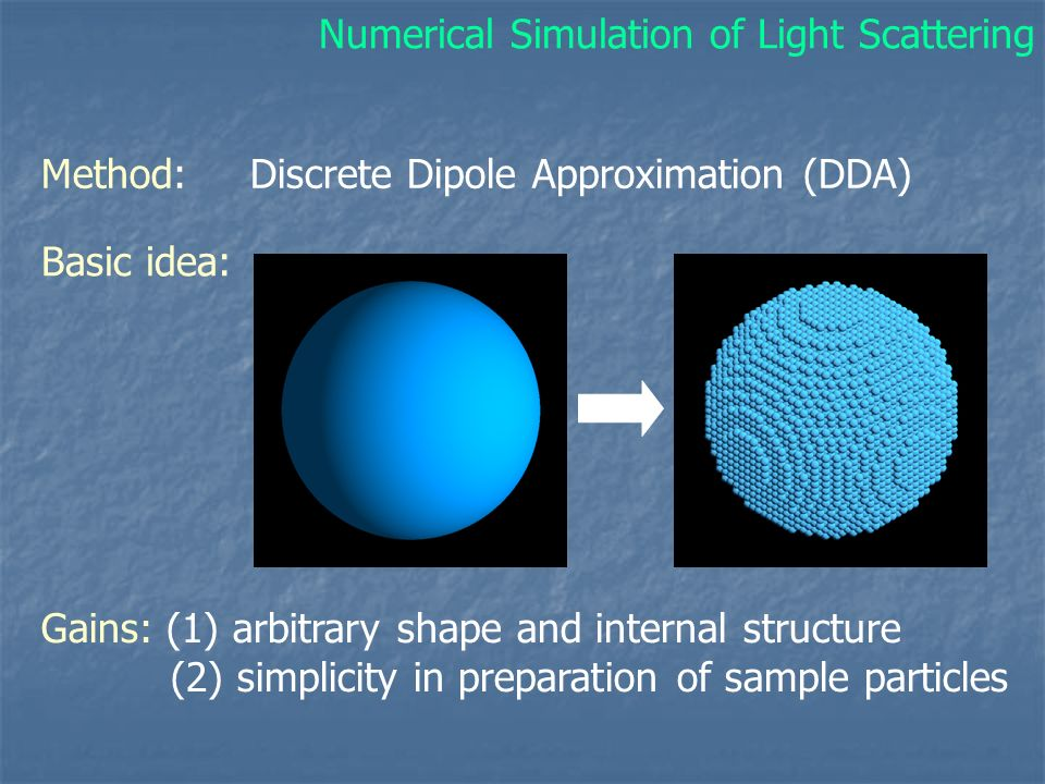 Basic idea: Gains: (1) arbitrary shape and internal structure (2) simplicity in preparation of sample particles Method: Discrete Dipole Approximation