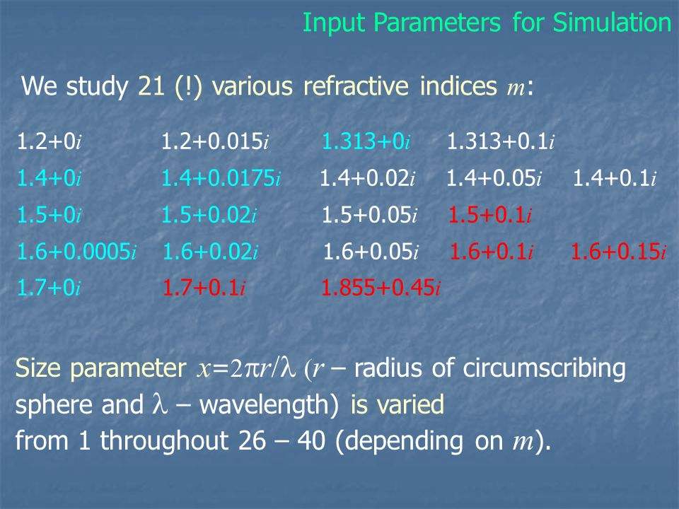 We study 21 (!) various refractive indices m : Input Parameters for Simulation 1.2+0 i 1.2+0.015 i 1.313+0 i 1.313+0.1 i 1.4+0 i 1.4+0.0175 i 1.4+0.02