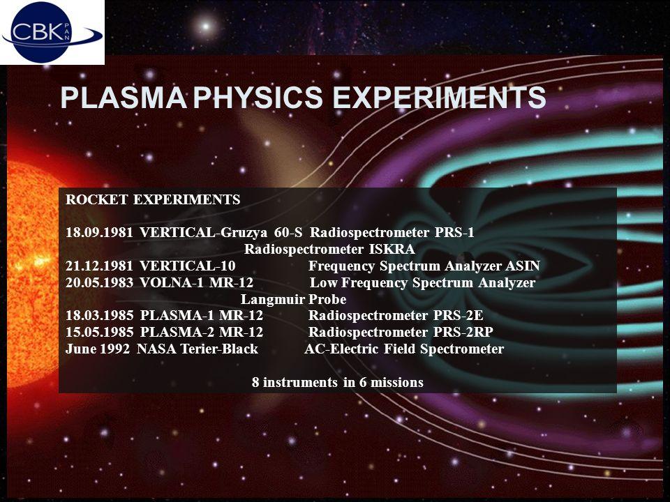 19.03.2004Piotr Orleański, SRC PAS5 PLASMA PHYSICS EXPERIMENTS ROCKET EXPERIMENTS 18.09.1981 VERTICAL-Gruzya 60-S Radiospectrometer PRS-1 Radiospectro