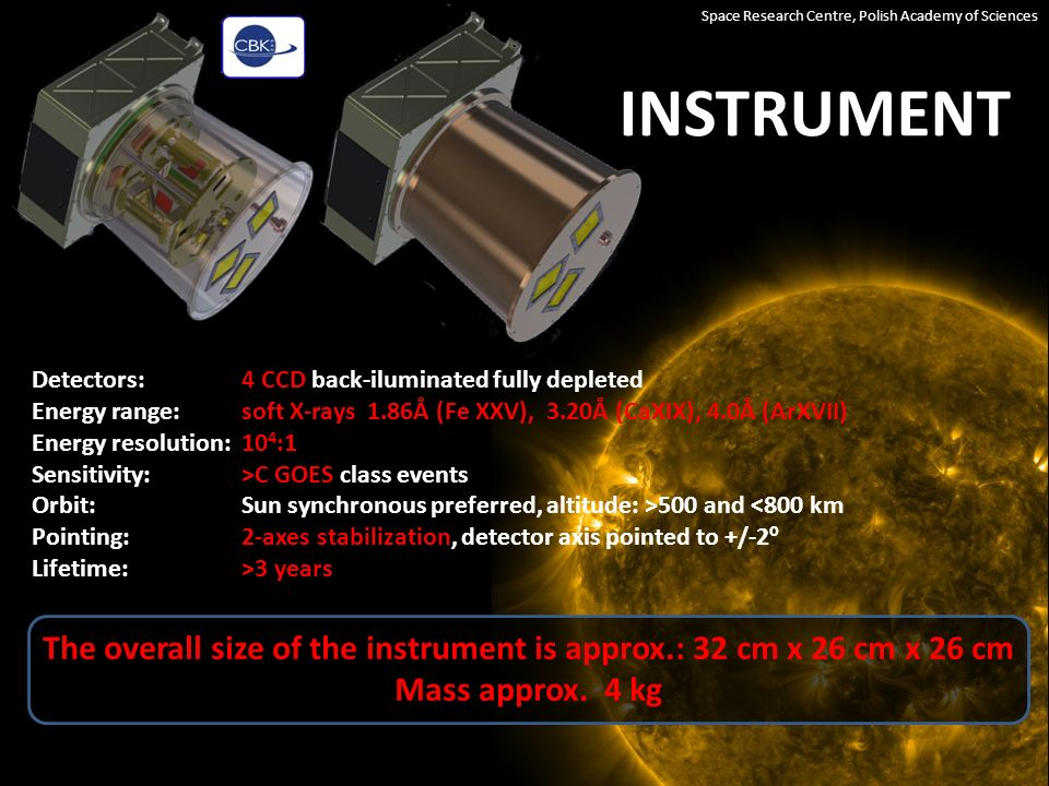 INSTRUMENT Space Research Centre, Polish Academy of Sciences TWO-AXES ADJUSTABLE FRAME WITH THREE DETECTOR MODULES TOP VIEW UV-FILTERS & ENTRANCE CAPILLARY MESH PINHOLE SOLAR FLARE LOCATOR