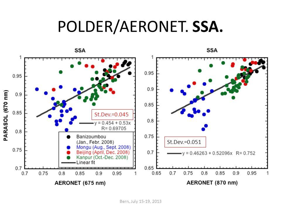POLDER/AERONET. SSA. Bern, July 15-19, 2013 St.Dev.=0.045 St.Dev.=0.051