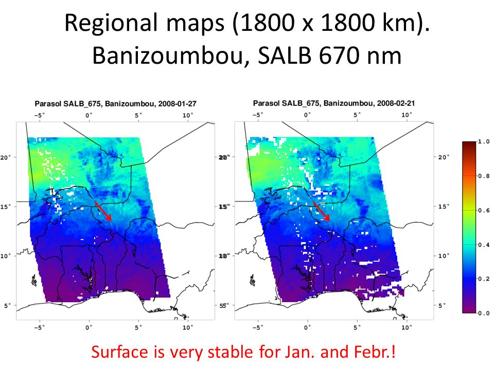Regional maps (1800 x 1800 km). Banizoumbou, SALB 670 nm Bern, July 15-19, 2013 Surface is very stable for Jan. and Febr.!