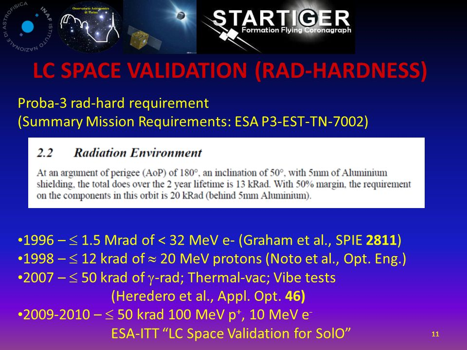 11 Proba-3 rad-hard requirement (Summary Mission Requirements: ESA P3-EST-TN-7002) 1996 – 1.5 Mrad of < 32 MeV e- (Graham et al., SPIE 2811) 1998 – 12