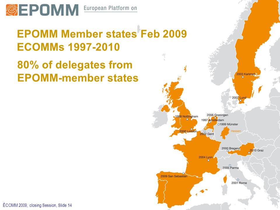 ÊCOMM 2009, closing Session, Slide 14 EPOMM Member states Feb 2009 ECOMMs % of delegates from EPOMM-member states