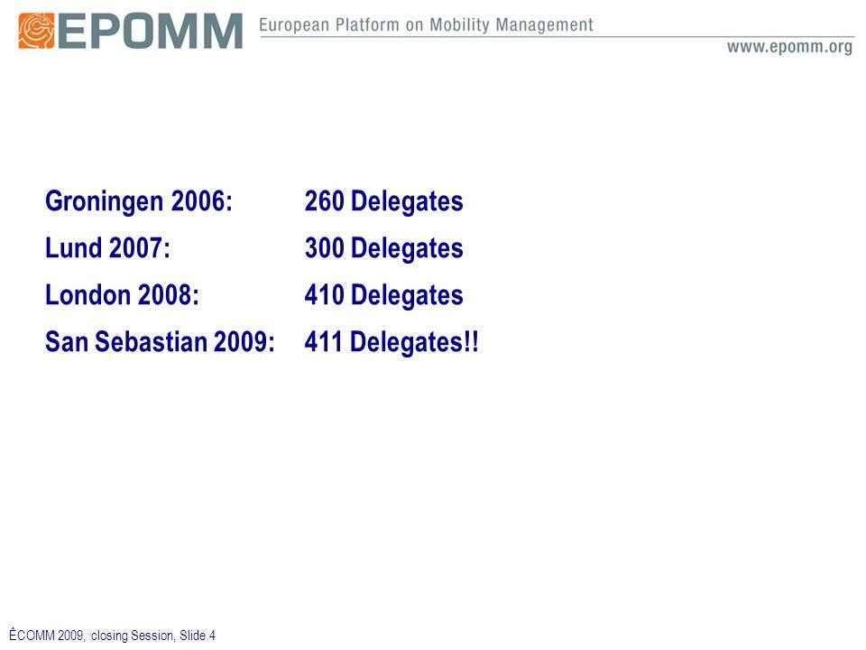 ÊCOMM 2009, closing Session, Slide 4 Groningen 2006:260 Delegates Lund 2007:300 Delegates London 2008:410 Delegates San Sebastian 2009: 411 Delegates!!