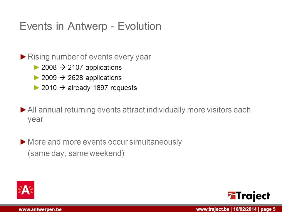 | 16/02/2014 | page 5   Events in Antwerp - Evolution Rising number of events every year applications applications 2010 already 1897 requests All annual returning events attract individually more visitors each year More and more events occur simultaneously (same day, same weekend)
