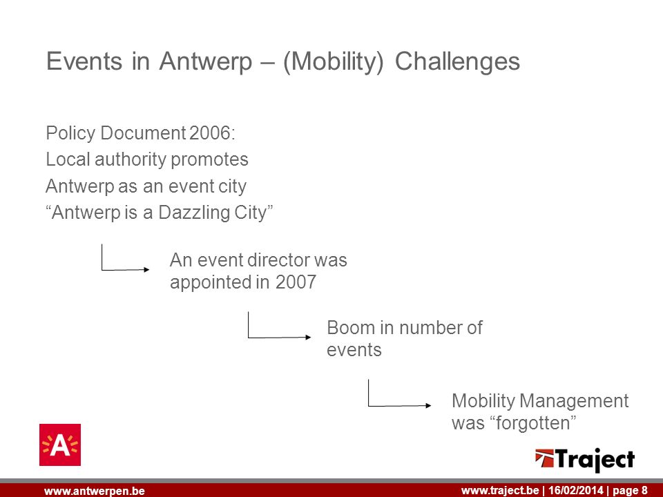 | 16/02/2014 | page 8   Events in Antwerp – (Mobility) Challenges Policy Document 2006: Local authority promotes Antwerp as an event city Antwerp is a Dazzling City An event director was appointed in 2007 Boom in number of events Mobility Management was forgotten