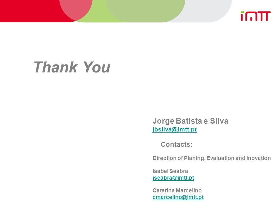 Jorge Batista e Silva jbsilva@imtt.pt Contacts: Direction of Planing, Evaluation and Inovation Isabel Seabra iseabra@imtt.pt Catarina Marcelino cmarcelino@imtt.pt Thank You