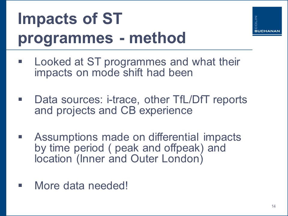 14 Impacts of ST programmes - method Looked at ST programmes and what their impacts on mode shift had been Data sources: i-trace, other TfL/DfT reports and projects and CB experience Assumptions made on differential impacts by time period ( peak and offpeak) and location (Inner and Outer London) More data needed!