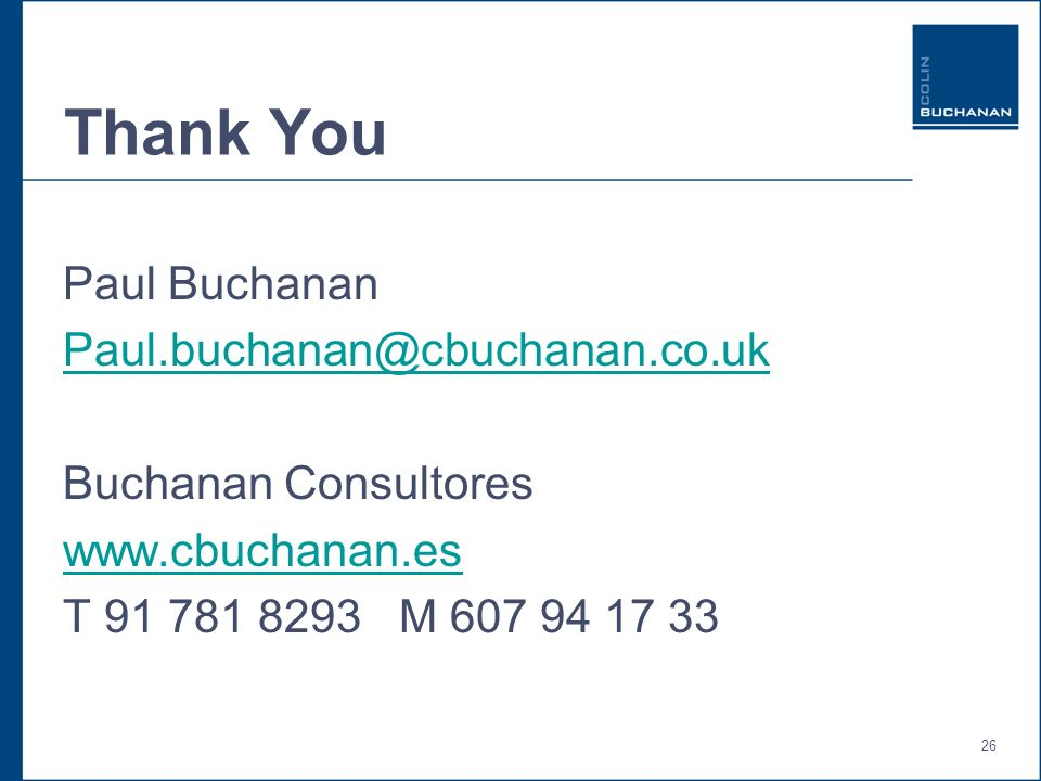 26 Thank You Paul Buchanan Buchanan Consultores   T M