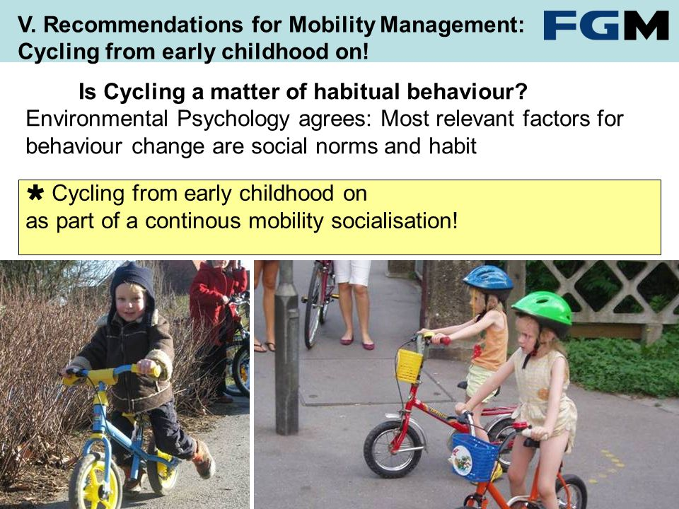 Cycling from early childhood on as part of a continous mobility socialisation.
