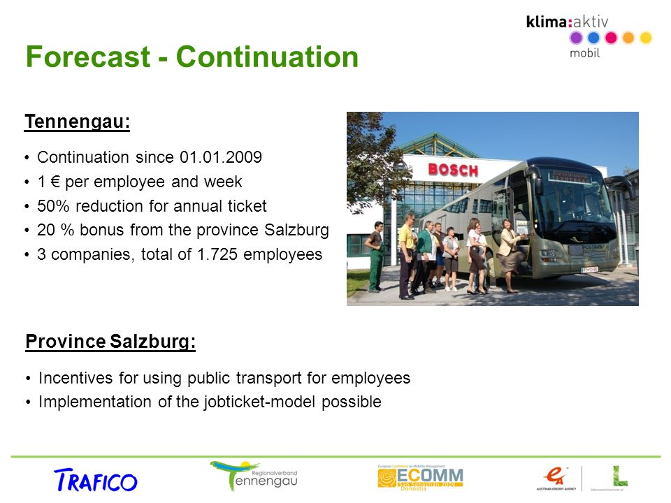 Forecast - Continuation Province Salzburg: Incentives for using public transport for employees Implementation of the jobticket-model possible Tennenga