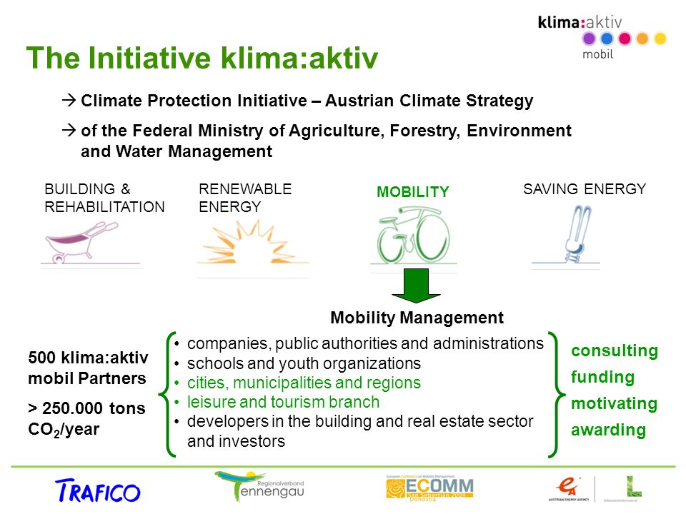 The Initiative klima:aktiv BUILDING & REHABILITATION RENEWABLE ENERGY MOBILITY SAVING ENERGY Climate Protection Initiative – Austrian Climate Strategy