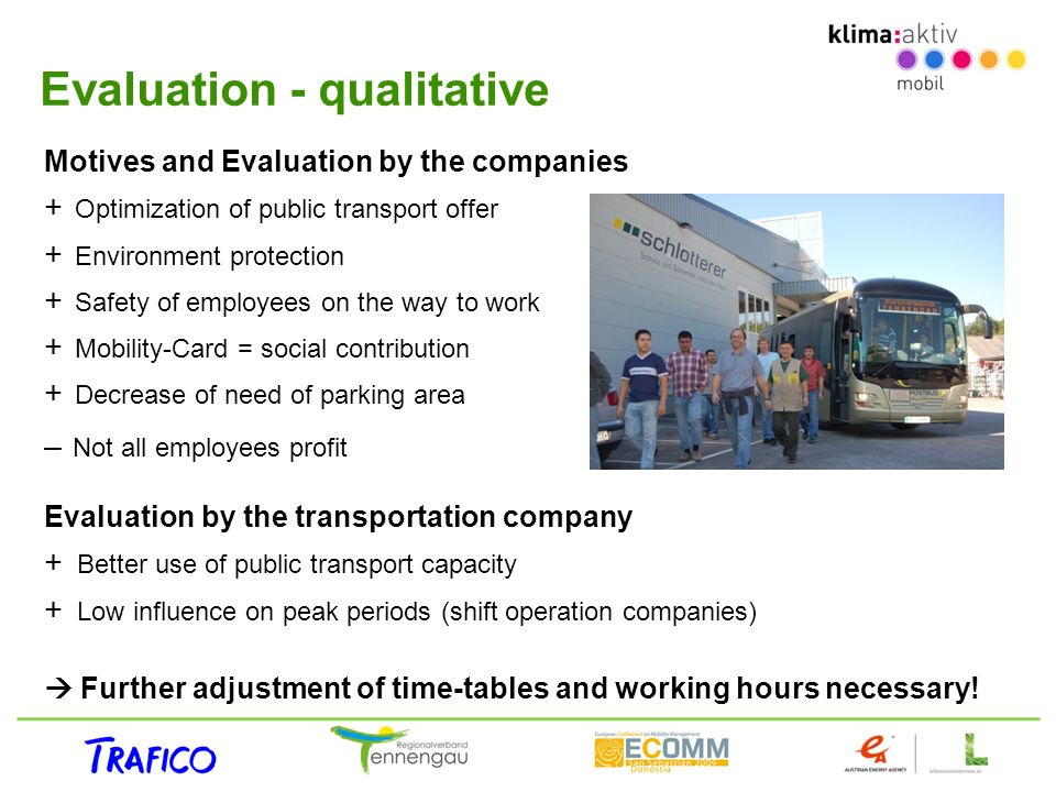 Evaluation - qualitative Motives and Evaluation by the companies + Optimization of public transport offer + Environment protection + Safety of employe