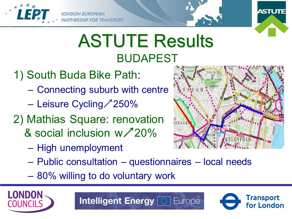 ASTUTE Results BUDAPEST 1) South Buda Bike Path: –Connecting suburb with centre –Leisure Cycling 250% 2) Mathias Square: renovation & social inclusion