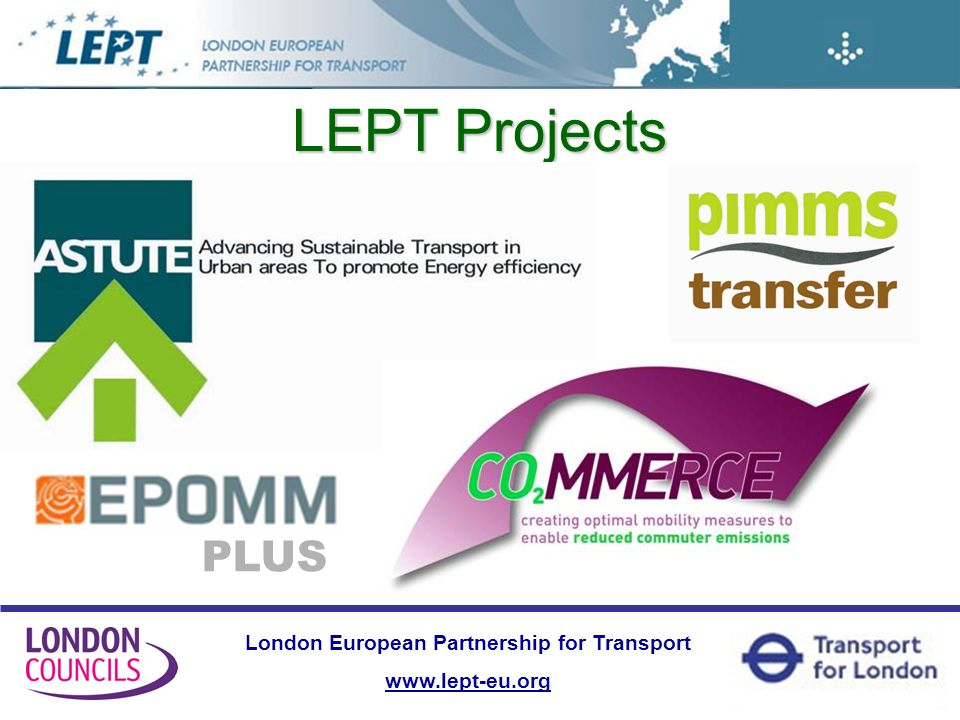 London European Partnership for Transport www.lept-eu.org LEPT Projects PLUS