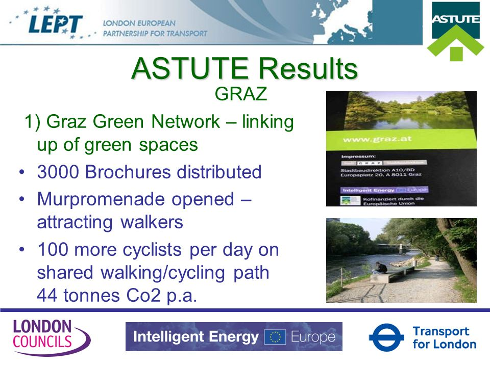 ASTUTE Results GRAZ 1) Graz Green Network – linking up of green spaces 3000 Brochures distributed Murpromenade opened – attracting walkers 100 more cy