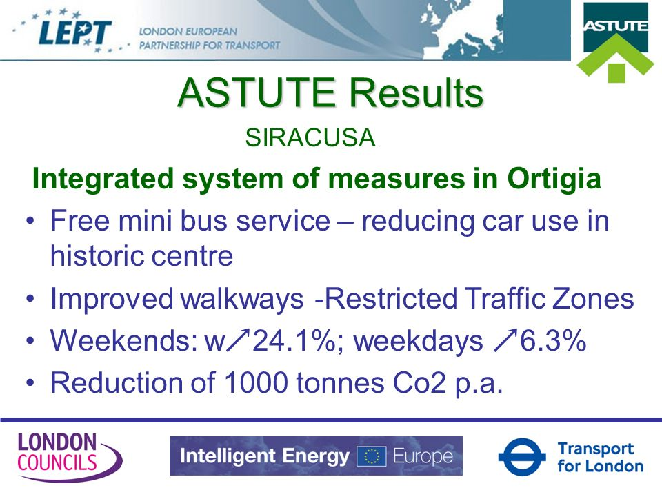 ASTUTE Results SIRACUSA Integrated system of measures in Ortigia Free mini bus service – reducing car use in historic centre Improved walkways -Restri