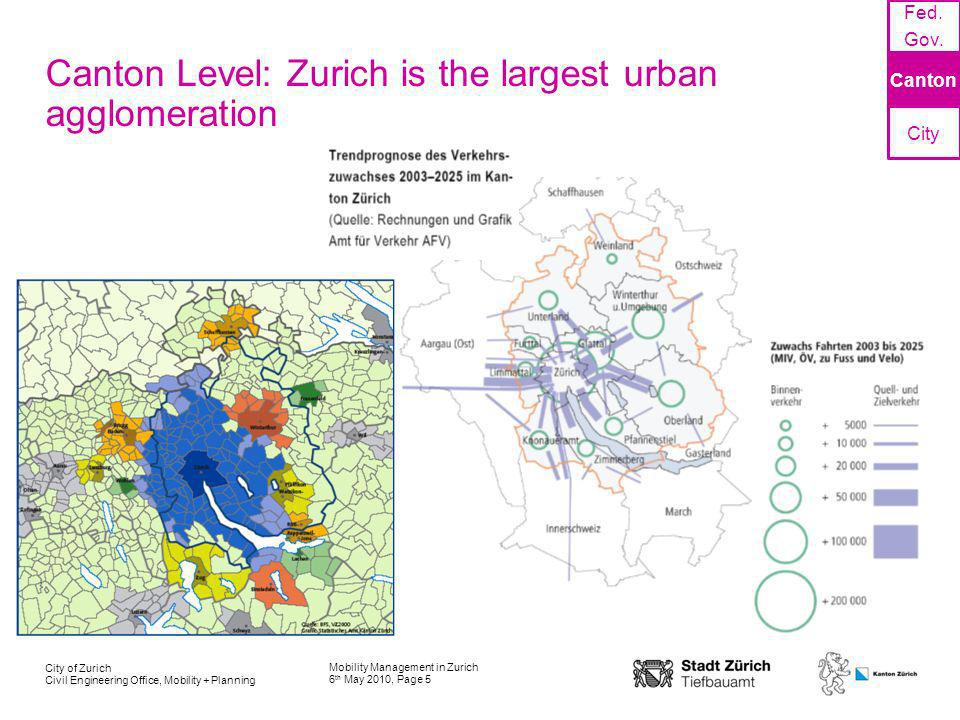Mobility Management in Zurich 6 th May 2010, Page 5 City of Zurich Civil Engineering Office, Mobility + Planning Canton Level: Zurich is the largest u