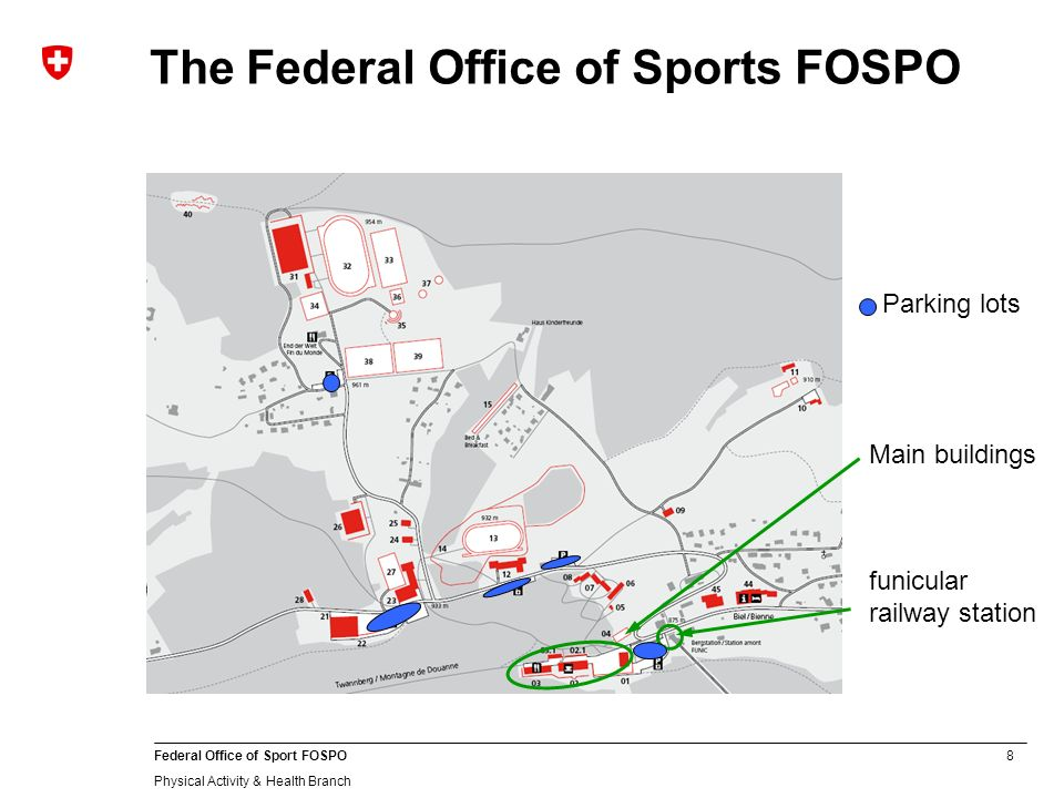 8 Federal Office of Sport FOSPO Physical Activity & Health Branch The Federal Office of Sports FOSPO Main buildings funicular railway station Parking lots
