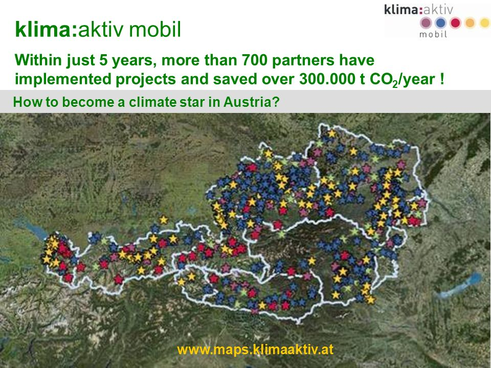 www.klimaaktivmobil.at 2 klima:aktiv mobil Within just 5 years, more than 700 partners have implemented projects and saved over 300.000 t CO 2 /year .