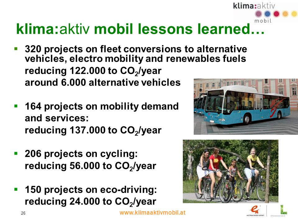 www.klimaaktivmobil.at 26 320 projects on fleet conversions to alternative vehicles, electro mobility and renewables fuels reducing 122.000 to CO 2 /year around 6.000 alternative vehicles 164 projects on mobility demand and services: reducing 137.000 to CO 2 /year 206 projects on cycling: reducing 56.000 to CO 2 /year 150 projects on eco-driving: reducing 24.000 to CO 2 /year klima:aktiv mobil lessons learned…