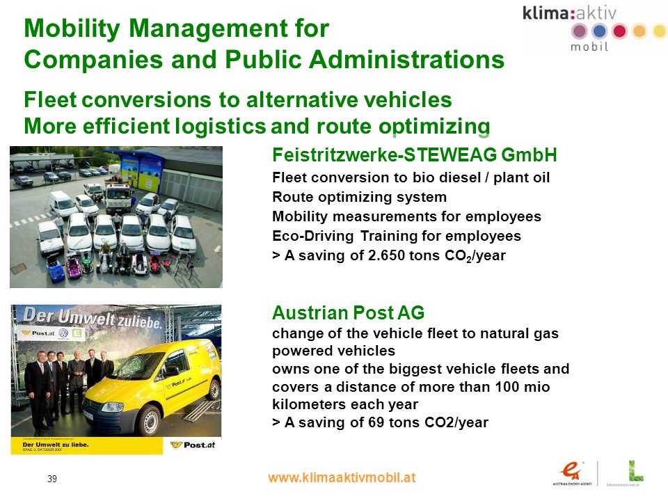www.klimaaktivmobil.at 39 Mobility Management for Companies and Public Administrations Fleet conversions to alternative vehicles More efficient logistics and route optimizing Feistritzwerke-STEWEAG GmbH Fleet conversion to bio diesel / plant oil Route optimizing system Mobility measurements for employees Eco-Driving Training for employees > A saving of 2.650 tons CO 2 /year Austrian Post AG change of the vehicle fleet to natural gas powered vehicles owns one of the biggest vehicle fleets and covers a distance of more than 100 mio kilometers each year > A saving of 69 tons CO2/year