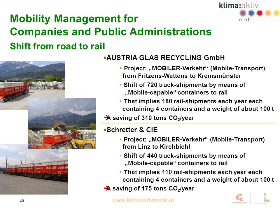www.klimaaktivmobil.at 40 Mobility Management for Companies and Public Administrations Shift from road to rail AUSTRIA GLAS RECYCLING GmbH Project: MOBILER-Verkehr (Mobile-Transport) from Fritzens-Wattens to Kremsmünster Shift of 720 truck-shipments by means of Mobile-capable containers to rail That implies 180 rail-shipments each year each containing 4 containers and a weight of about 100 t A saving of 310 tons CO 2 /year Schretter & CIE Project: MOBILER-Verkehr (Mobile-Transport) from Linz to Kirchbichl Shift of 440 truck-shipments by means of Mobile-capable containers to rail That implies 110 rail-shipments each year each containing 4 containers and a weight of about 100 t A saving of 175 tons CO 2 /year