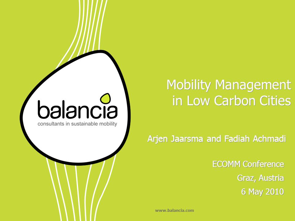 www.balancia.com Low carbon cities like Masdar City have good supply of public transport and a good built environment.